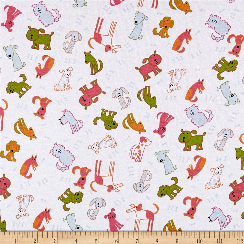 Cotton Spandex Jersey Knit Allover Dogs White/Multi