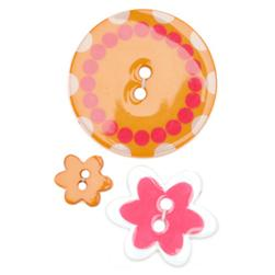 Fashion Buttons  1/2'', 1.00'', 1 3/8'' Coordinates Poker Chip Orange/Pink/White
