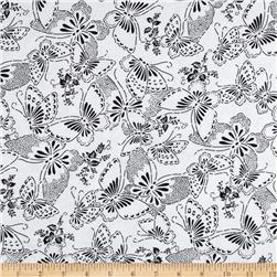110'' Wide Quilt Backing Butterfly White/Black