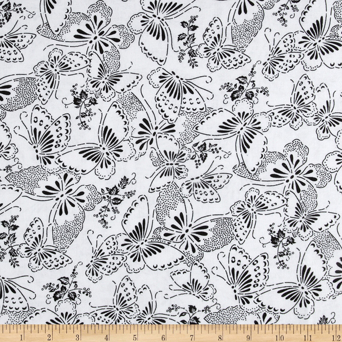 110'' Wide Quilt Backing Butterfly White/Black Fabric