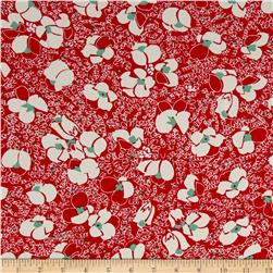 Poly Faille Print Daises Red