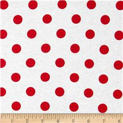 Cotton Jersey Knit Polka Dots Dark Red
