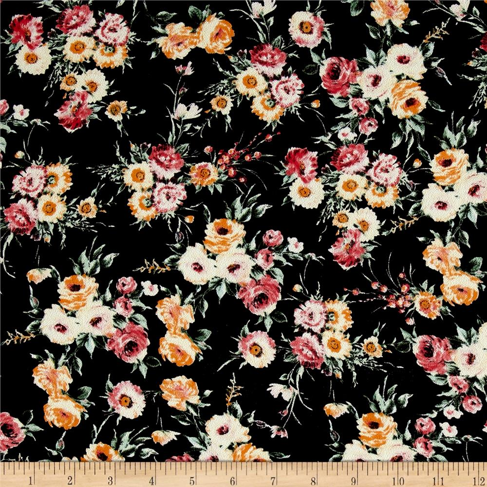 Bubble Crepe Woven Pink/Orange Rose Bouquet on Black Fabric