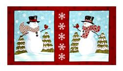 "Snow Much Fun Snowman 24"" Panel Berry Red"
