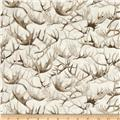 Timeless Treasures White Christmas Metallic Antlers Cream