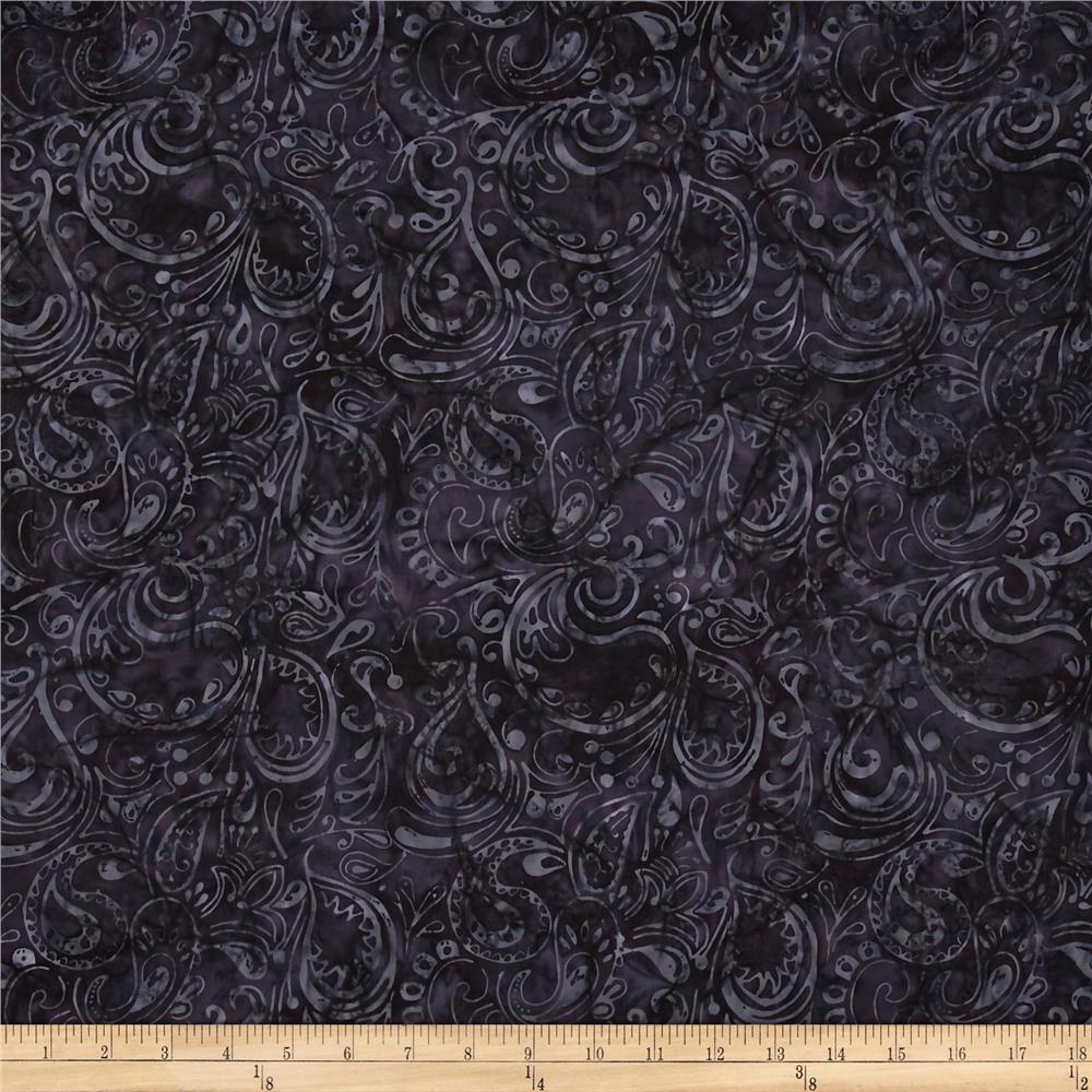 Timeless Treasures Tonga Batik Honeybee Paisley Black
