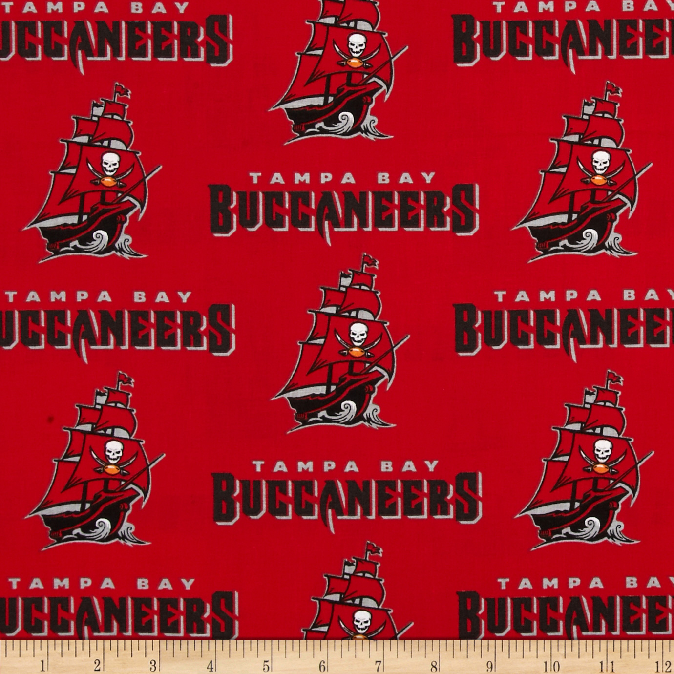 NFL Broadcloth Tampa Bay Buccaneers Red Fabric by Fabric Traditions in USA