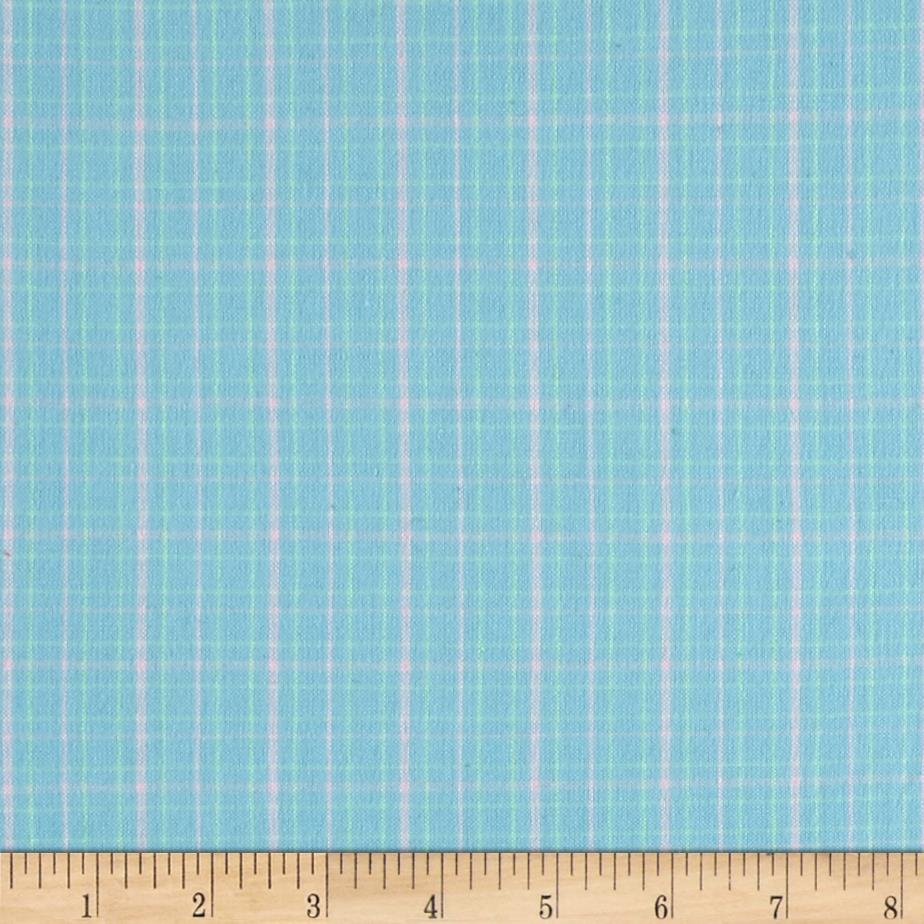 Flannel Plaids & Stripes Baby Blue Fabric