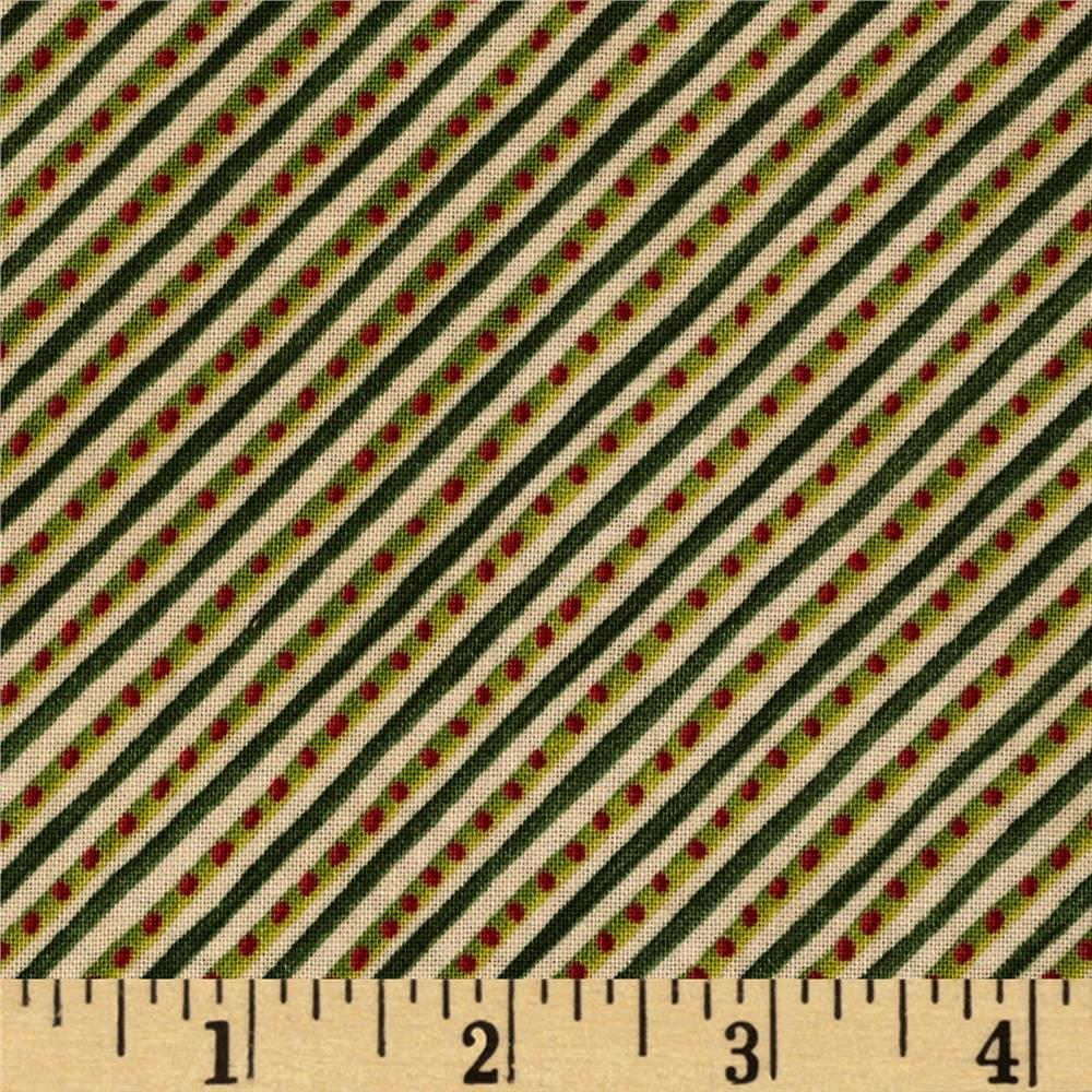 Windham 12 Days of Christmas Diagonal Stripe Red/Green/Tan