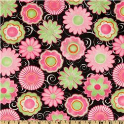 Kaufman Minky Cuddle Posey Party Hot Pink/Lime