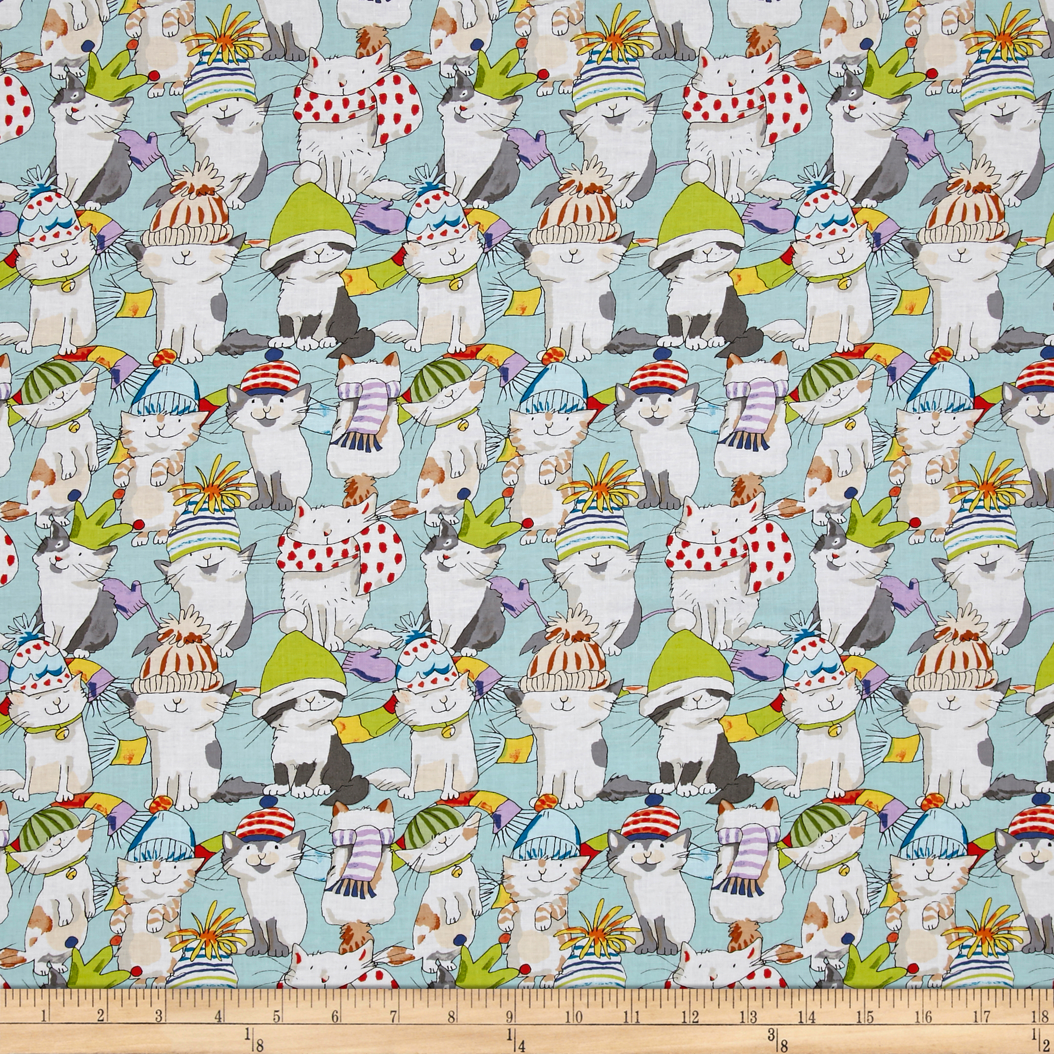 Knittens Large Kittens Light Teal Fabric by Clothworks in USA