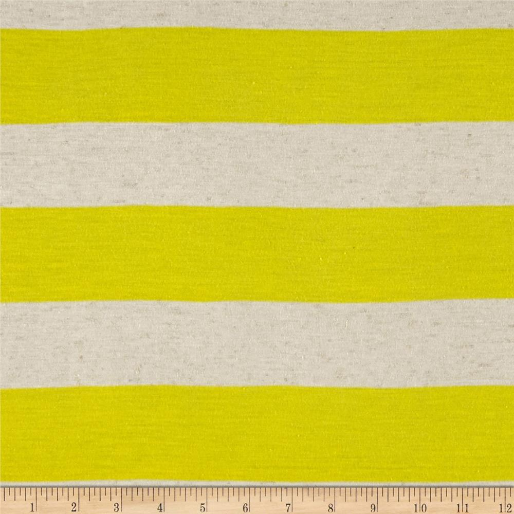 Yarn Dyed Jersey Knit Daffodil/Ivory Fabric