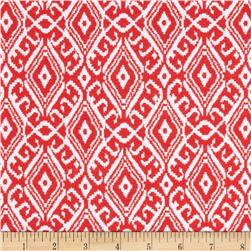 Cotton Spandex Jersey Knit Elegant Ikat Coral Red/White