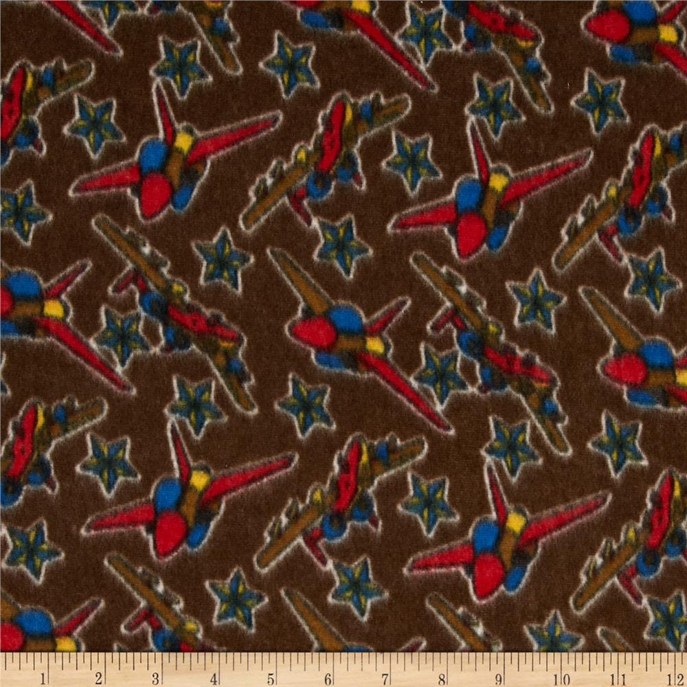 Fleece Planes & Stars Brown
