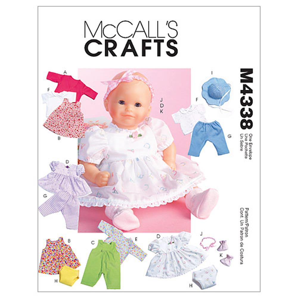 McCall's Baby Doll Clothes Pattern M4338 Size OSZ