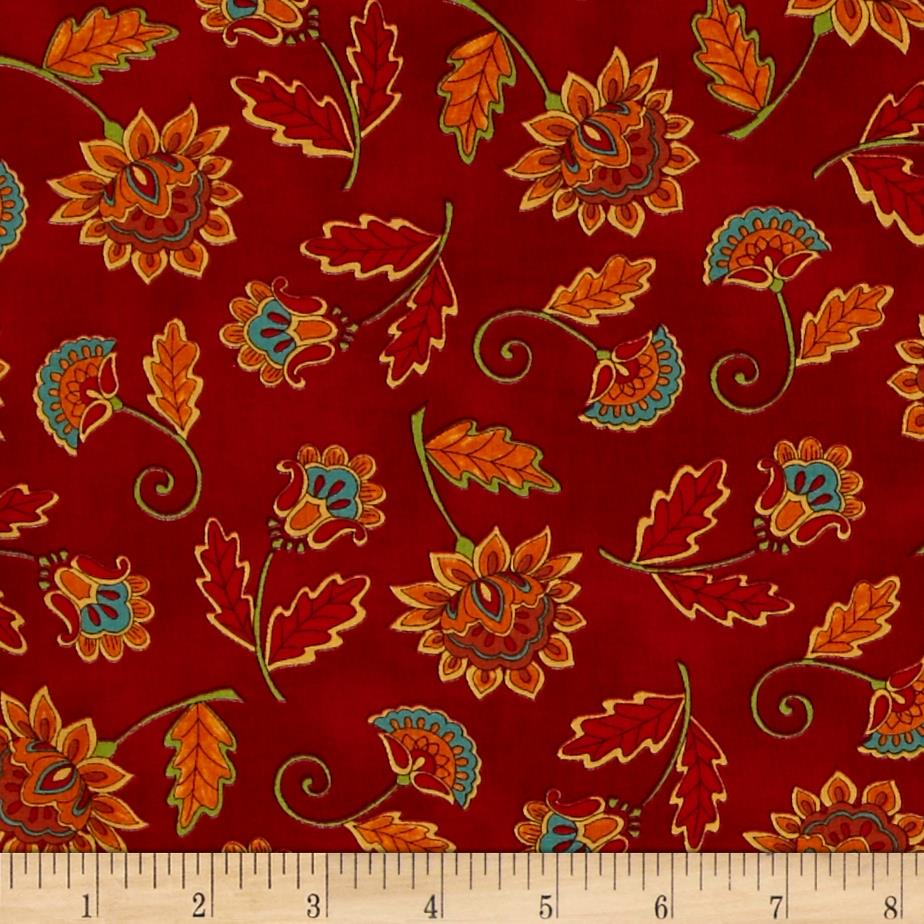 Moda Forest Fancy Fall Flowers Berry Red