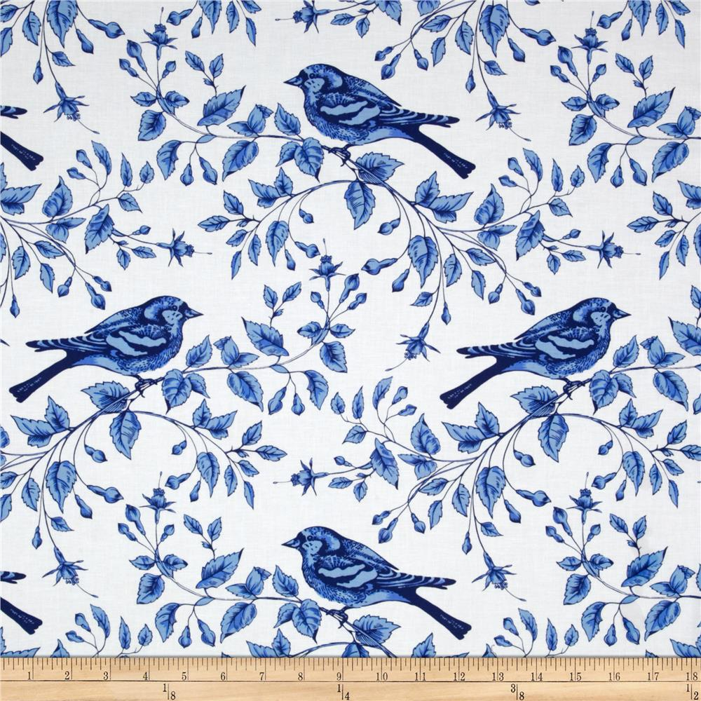 Michael Miller Blue & White Bird On The Vine Azure - Discount ...