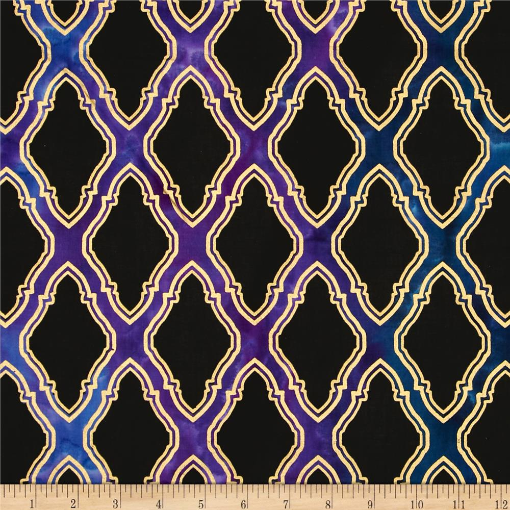Indian Batik Metallic Honeycomb Black/Purple/Blue