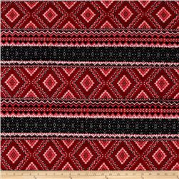 Stretch ITY Knit Triangle Aztec Print Red Black