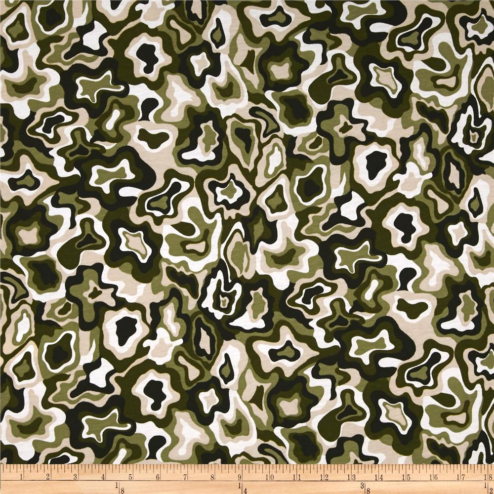 Cotton Blend Jersey Knit Camo Sand/Green