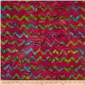 Indian Batiks Chevron Fuchsia/Green