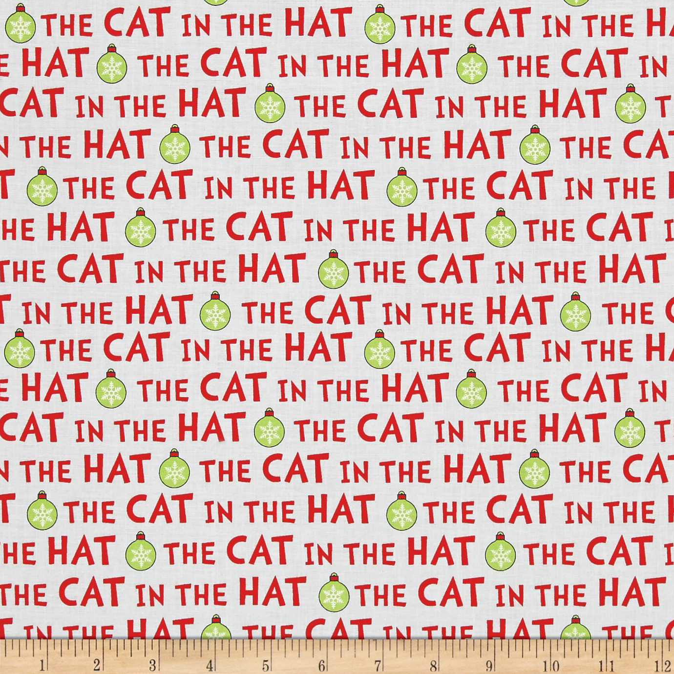 Kaufman The Cat In The Hat Christmas Words Holiday Fabric