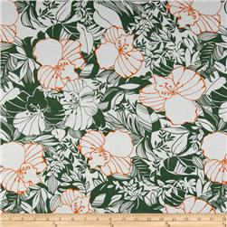 Designer Cotton Lawn Large Tropical Floral Green/Orange