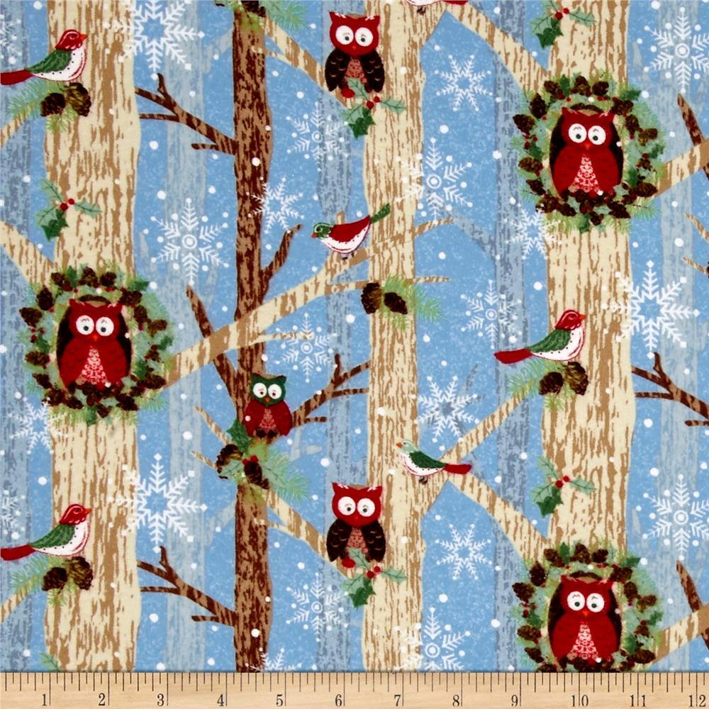 Woodland Noel Flannel Owls Light Blue