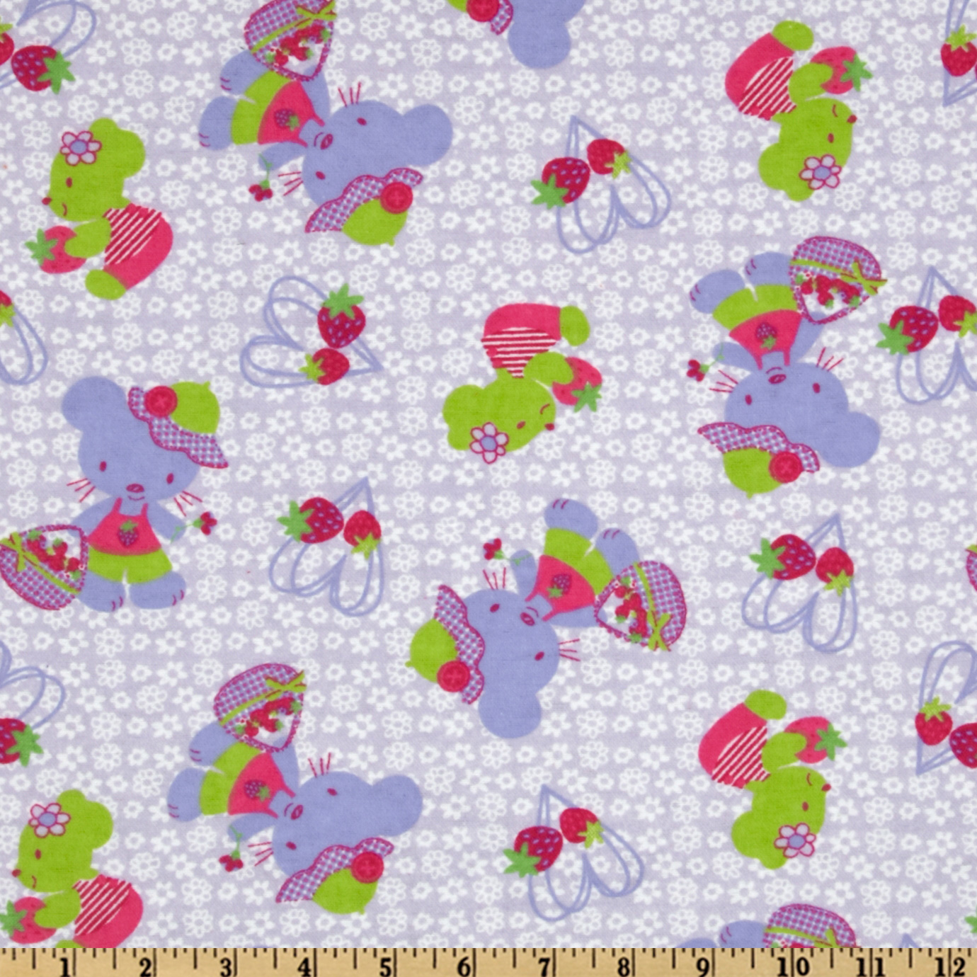 Camelot Flannel Kitties & Berries Purple Fabric