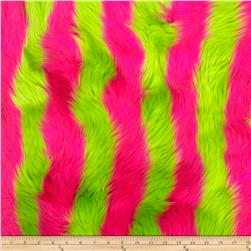 Fun Shag Faux Fur Ribbon and Stripes Hot Pink/Lime