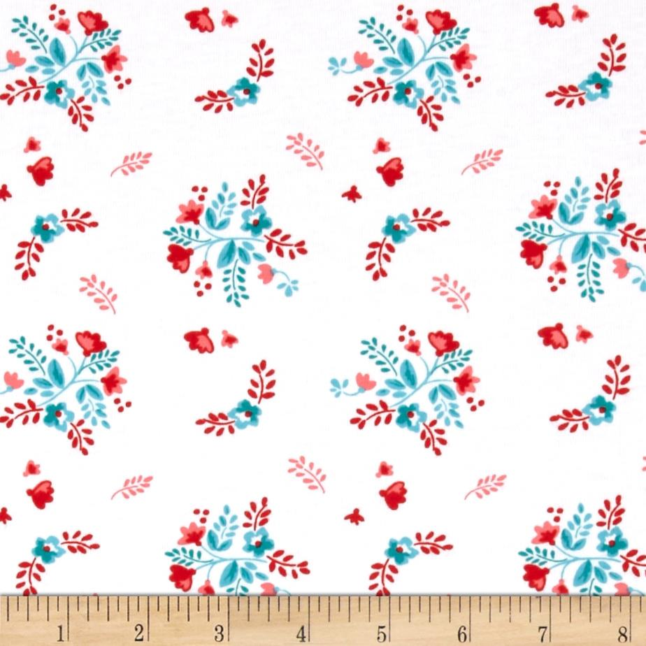 Riley blake vintage market jersey knit floral white for Kids knit fabric