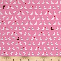 Kaufman Tiny Happy Lucky Bunnies Pink