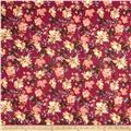 Double Brushed Jersey Knit Milana Ethnic Floral Maroon