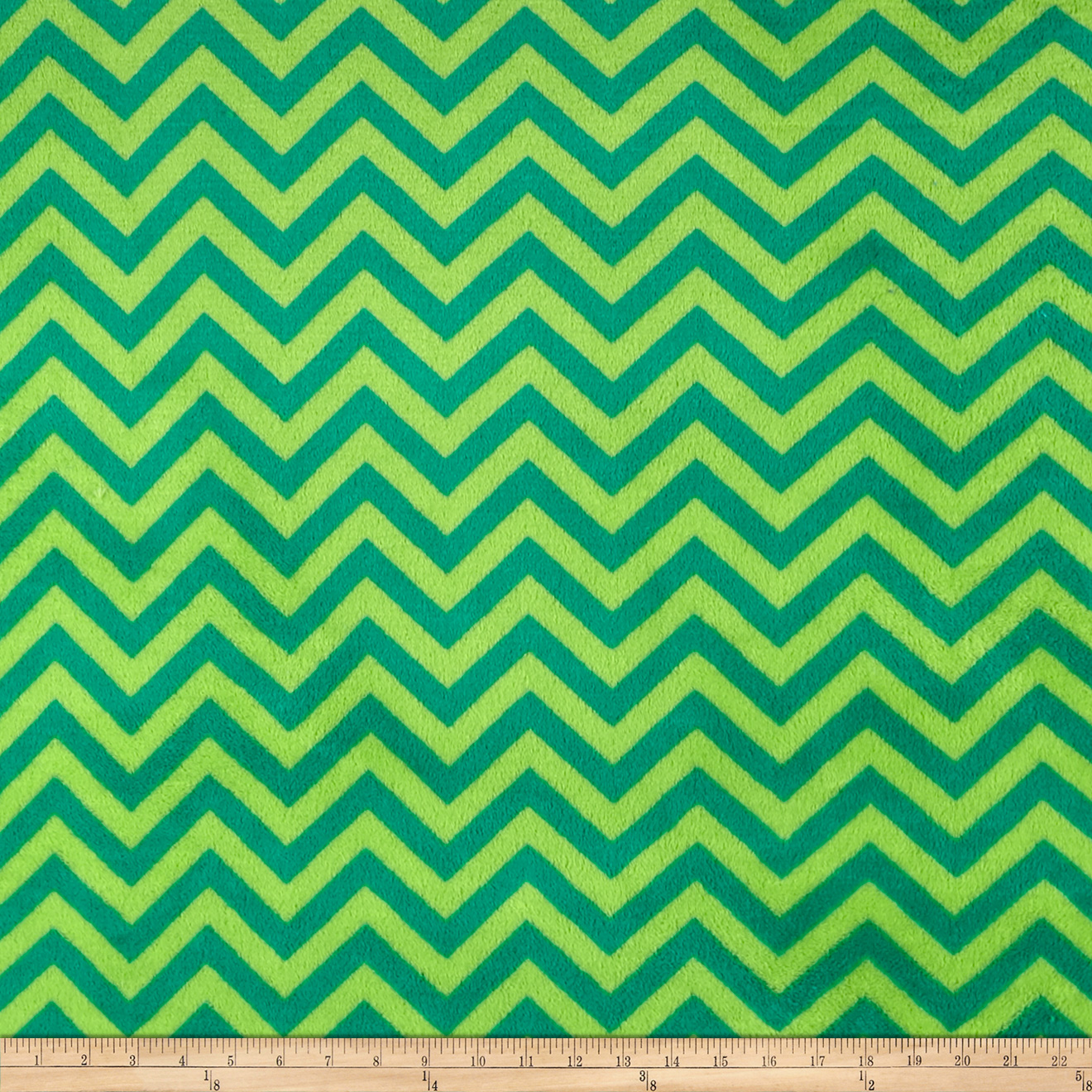 Plush Coral Fleece Chevron Jade Emerald Fabric