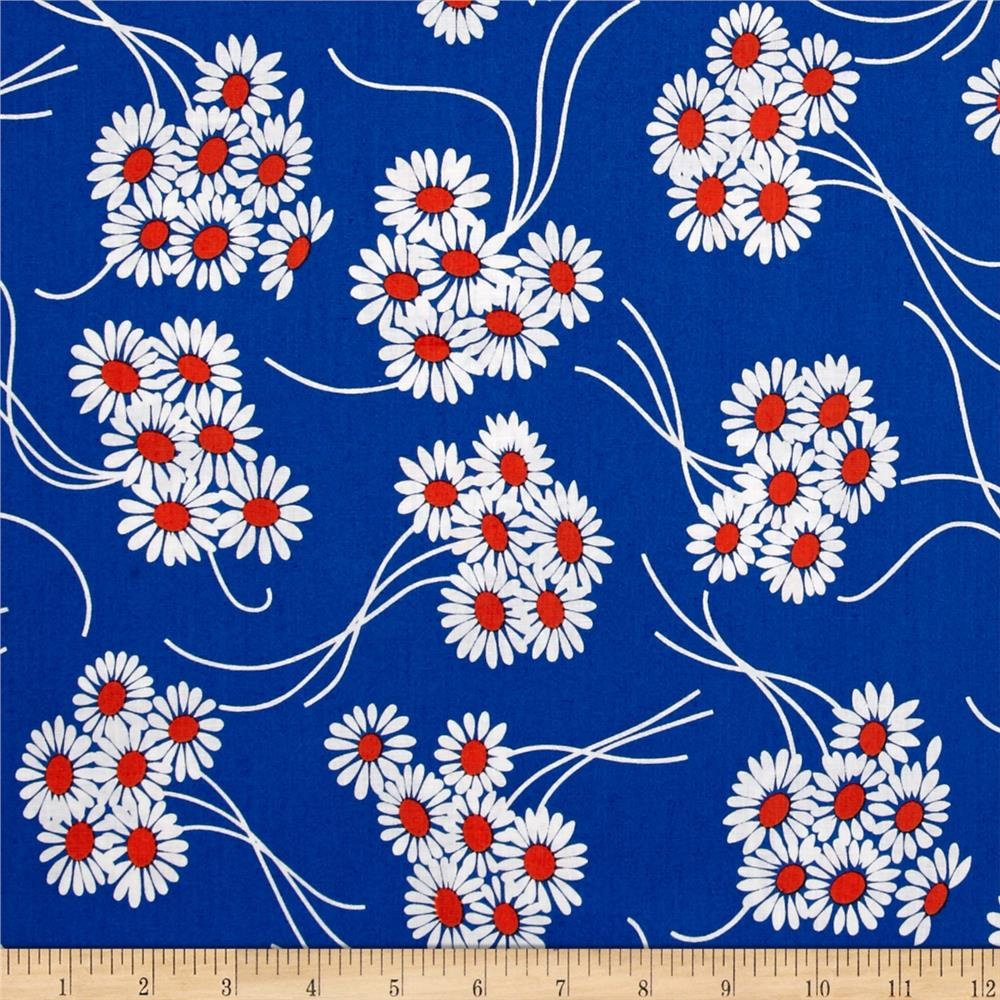 Denyse Schmidt Katie Jump Rope Daisy Bouquet Royal Blue Fabric