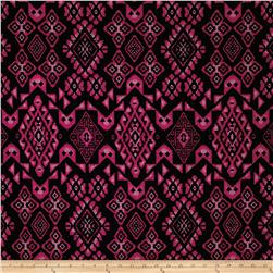 Hatchi Lightweight Sweater Knit Tribal Diamonds and Florals Magenta/Blk