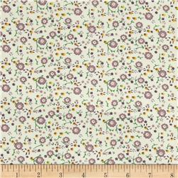 21 Wale Corduroy Small Flowers Cream/Purple