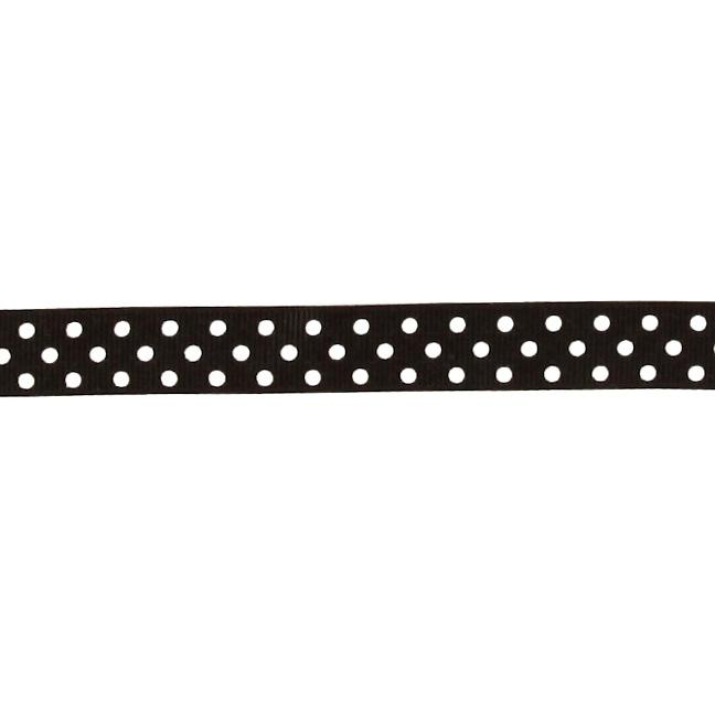 "5/8"" Grosgrain Ribbon Polka Dots Black/White"