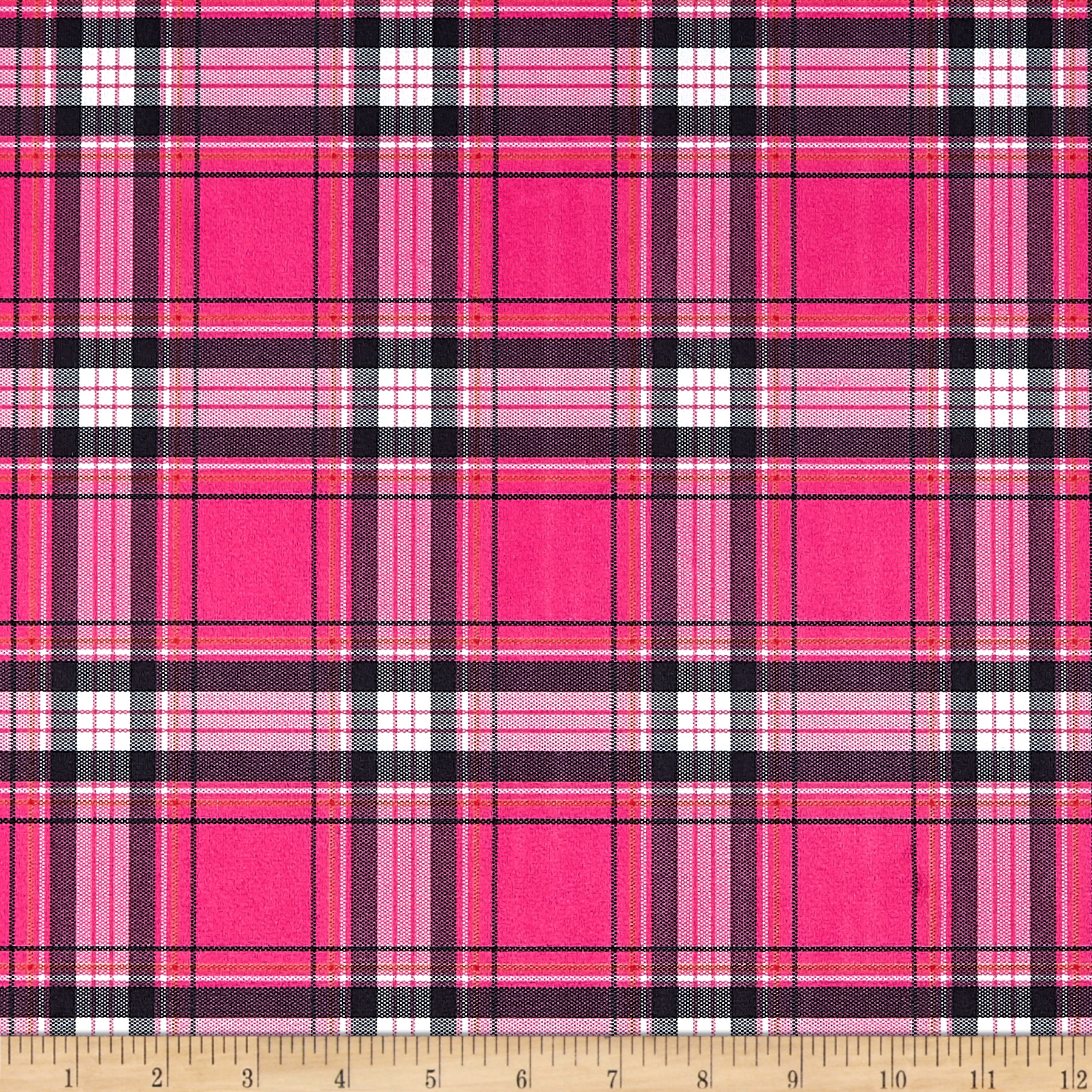 Minky New Plaid Hot Pink/Black Fabric
