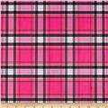 Minky New Plaid Hot Pink/Black