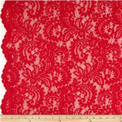 Amelia Stretch Lace Red Fabric