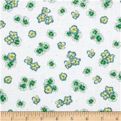 Paradise Tossed Flower White/Green Fabric