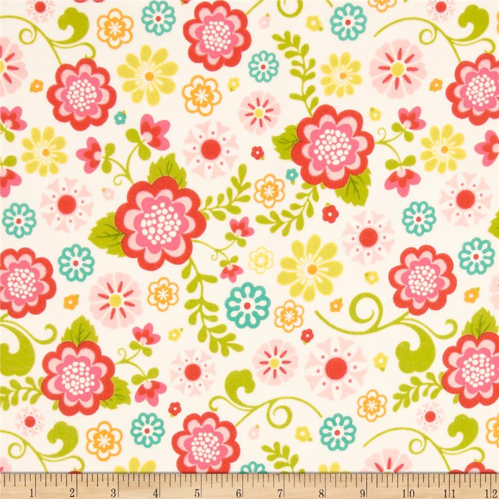 Riley Blake Fancy Free Flannel Large Floral Pink