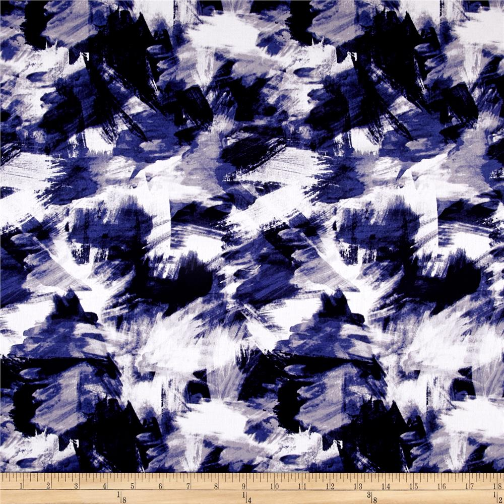 Telio Bloom Stretch Sateen Brush Strokes Print Blue