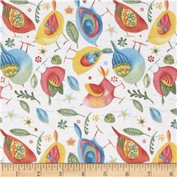 Woodsy Medium Toss Birds Light Cream