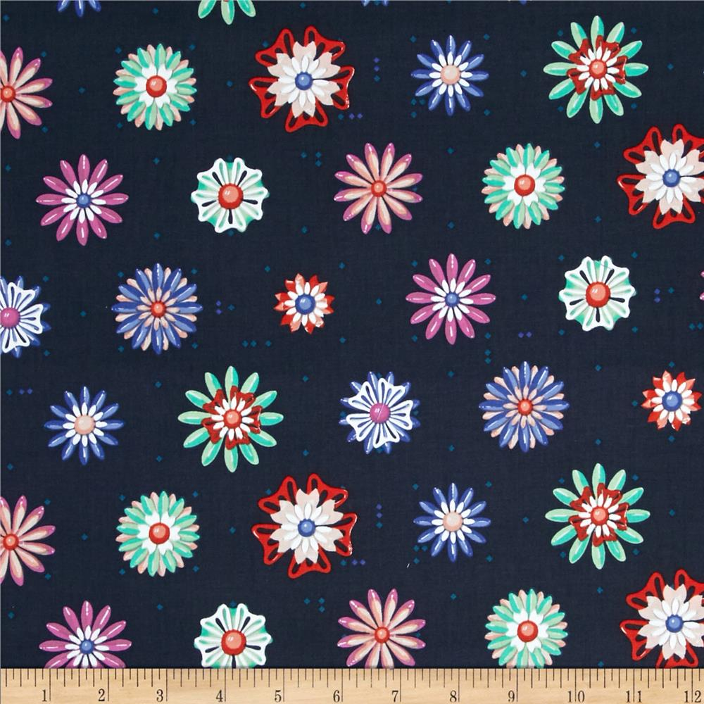 Cotton & Steel Picnic Enamel Flowers Navy