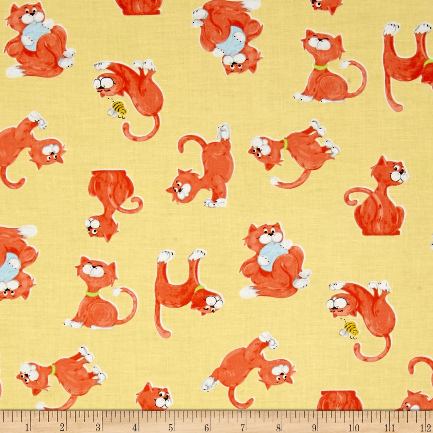 Susybee Purrl the Cat Tossed Cats Yellow Fabric by Susybee in USA
