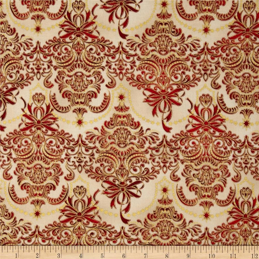 Holiday Flourish Metallic Damask Holiday Antique Cream