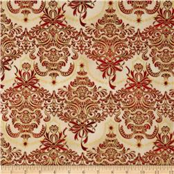 Holiday Flourish Metallic Damask Holiday Antique Cream Fabric