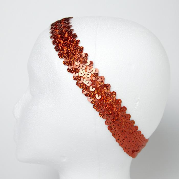 "1 1/4"" Hologram Sequin Stretch Headband Orange"